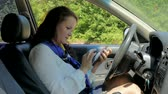 сломал : business woman driving, lost and calling