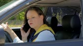 quebrado : business lady driving, talking on the phone Stock Footage