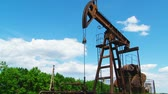 trumpet : The oil rig pumps oil Stock Footage