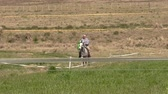 male animal : Maldonado, Uruguay 09062014. Man riding a horse in a farm
