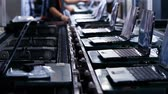 technician : Conveyor Belt On the Assembly Line of a Computer Factory. Stock Footage