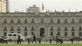 government district : La Moneda Palace And Chilean Flag, In Santiago De Chile.