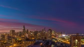 облака : City Downtown sunset with scenic clouds, steady time lapse. Chicago, Illinois