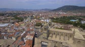 navarre : Aerial above Old Town buildings and Cathedral in Pamplona, Spain