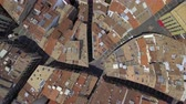 navarre : Aerial top view of narrow streets and Old Town building in Pamplona, Spain Stock Footage