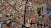navarre : Aerial view of narrow streets and Old Town building in Pamplona, Spain