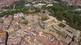 navarre : Flying above Old Town buildings and Cathedral in Pamplona, Spain