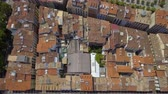 navarre : Aerial top view of Old Town rooftops and narrow streets in Pamplona, Spain