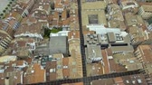 navarre : Aerial above narrow streets and city buildings in Pamplona, Spain Stock Footage