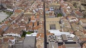 navarre : Flying above narrow streets and city buildings in Pamplona, Spain