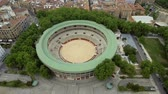 navarre : Flying above narrow streets and bullring stadium, Pamplona, Spain