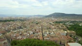 navarre : Flying above narrow city streets in Pamplona, Spain