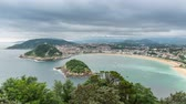 concha : High angle Time Lapse of San Sebastian Concha Bay and Beach, Spain Vídeos