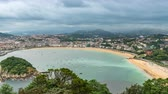 concha : High angle Time Lapse of San Sebastian Bay and Beach, Spain