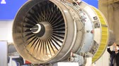 turbofan : Kiev, Ukraine October 11, 2017: - Airplane engine motor with blades close-up