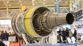 turbofan : Kiev, Ukraine October 11, 2017: - Airplane engine motor with blades back side close-up