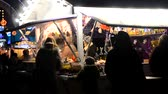 mulled : Kyiv Ukraine December 17, 2017: - Traditional Christmas fair sale of sweets, mulled wine, hot drinks and other Stock Footage