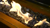 firebrand : Modern bio fireplot fireplace on ethanol gas close-up. Stones fire flame