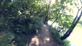 first person view : POV, first person perspective view of man who go ride fast on a forest path in a summer sunny day. Mountain bike riding in green woods Stock Footage