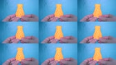 fundido : The person holds on his hands and view yellow object created on 3d printer. POV, point of view, mtb. Fused deposition modeling, FDM. Progressive modern 3D printing additive technology. 4ht revolution.