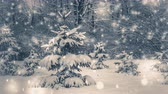 dráha : Photo in old vintage style. Very nice little Christmas tree in the woods with snow. Christmas Winter New Year background. Cinemagraph seamless loop animation motion gif render background Dostupné videozáznamy