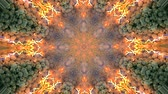 psychedelic colors : Abstract kaleidoscope motion background. Sequence multicolored graphics ornaments patterns. Seamless loop. Bright impulsively luminous fire flame light backdrop, gray stones