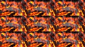 grondstoffen : Burning up the black and red embers fire flame close up. Multicam split screen group montage background. Abstract animation wall. Stockvideo