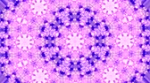 kesintisiz desen : Abstract kaleidoscope motion background. Sequence multicolored graphics ornaments patterns. Purple white, Christmas New Year lace motifs sequins, falling snow. Seamless loop. Winter Light backdrop.