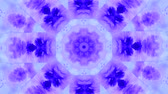 blending : Abstract animated kaleidoscope motion background. Spreading Purple Ink Drops on White Wet Smooth Surface. Sequence graphics ornaments patterns. Abstract Close-up Shot.
