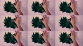 manchado : Woman smears draws green paint on white surface. Man draws a green paint smears his hands stained with green paint on the white surface. Multicam split screen group montage. Abstract animation wall.