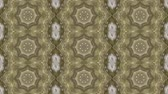 Abstract animated kaleidoscope motion background. Sequence graphics ornaments patterns. White brown beige structure motifs sequins. Bright impulsively luminous light backdrop. Seamless loop background
