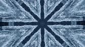 trançado : Abstract animated kaleidoscope motion background. Sequence graphics ornaments patterns. White blue black structure motifs sequins. Bright impulsively luminous light backdrop. Seamless loop background