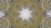 immersive : Abstract animated kaleidoscope motion background. Sequence graphics ornaments patterns. White brown beige structure motifs sequins. Bright impulsively luminous light backdrop. Seamless loop background