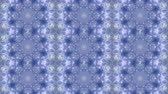 trançado : Abstract animated kaleidoscope motion background. Sequence graphics ornaments patterns. White blue structure motifs sequins. Bright impulsively luminous light backdrop. Seamless loop background Stock Footage
