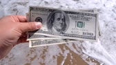 Girl holding money bill of 300 dollars on background of sea oceans waves and sand wet beach close-up on sunny day. Hand waves sea ocean money dollars vacation. Concept finance money holiday traveling Stok Video
