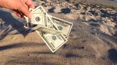 relaxovat : Girl holding money bill of 300 dollars on background of over sand of sea ocean sandy beach close-up. Hand wave sea ocean money dollars vacation. Concept finance money holiday traveling Dostupné videozáznamy