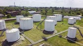 Panorama of oil factory tanks with storage in Russia, Aerial view