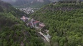 BORJOMI, GEORGIA, JULY 08, 2017: Aerial drone view of Borjomi resort town in central Georgia. Known for its mineral waters, with springs in Park.
