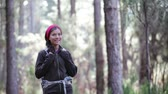 ходить : People hiking - woman hiker looking around and walking towards camera outside on walking trek in beautiful forest on Tenerife, Canary Islands, Spain.