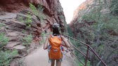 caminhada : Hiker woman hiking in Zion National Park. Happy female hiker trekking on walking path in Zion Canyon wearing backpack. Healthy lifestyle image with multiracial Asian Caucasian girl in Utah, USA. Stock Footage