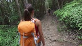 floresta : Hiking woman in forest trekking on Hawaii with backpack. Woman walking on hike trail with man in background. Trek on Waihee ridge trail, Maui, USA. Asian female model. Stock Footage