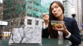 ázsiai : Tablet computer pc and business woman eating salad on lunch break in City Park living healthy lifestyle. Happy smiling mixed Asian young businesswoman, Bryant Park, Manhattan, New York City, USA