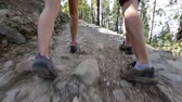 ходить : Hiking people - shoes close up and tilt. Hikers walking on hike path in forest outdoors. Young active couple on Gran Canaria, Canary Islands, Spain. Стоковые видеозаписи