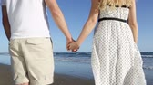 vestido : Couple holding hands - romantic lovers on beach. Close up of young lovers holding hands from behind enjoying view of ocean sea during holidays vacation travel. Vídeos
