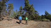 concha : Couple hiking - people walking on forest path hike together on trek outdoors in mountain forest. Woman and man hikers wearing backpacks on Tenerife, Canary Islands, Spain. Vídeos