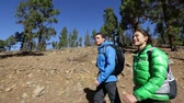 orientar : People hiking - couple walking on forest path hike together on trek outdoors in mountain forest. Woman and man hikers wearing backpacks on Tenerife, Canary Islands, Spain. Vídeos