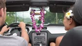 évjárat : Couple driving car on Hawaii travel with Hula doll dancing on dashboard and lei during road trip. Romantic couple on travel holidays vacation. Man driver behind steering wheel.