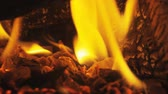 дом : Fire in fireplace close up in Slow motion. Wood burning in heater. Logs are on fire for warmness during winter. Warm cozy burning fire in fireplace. Стоковые видеозаписи