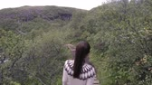 svartifoss : Woman visiting majestic Svartifoss waterfall. Female is walking on footbridge at famous tourist attraction of Iceland. She is enjoying view of spectacular natural landmark during vacation. ACTION CAM. Stock Footage