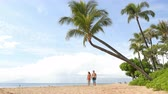 ver��o : Hawaii beach vacation couple walking - people lifestyle. Kaanapali beach, Maui, Hawaii, USA. Two person, man, woman together relaxing on famous hawaiian beach destination for summer travel holidays. Vídeos